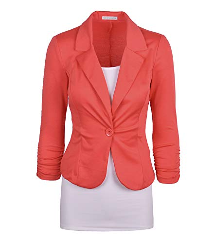 Auliné Collection Women's Casual Work Solid Color Knit Blazer Coral - Suit Coral Skirt