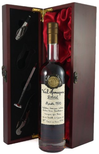 1970 Delord Freres Armagnac 50 CL in a silk lined wooden box with four wine accessories 1 x 500ml