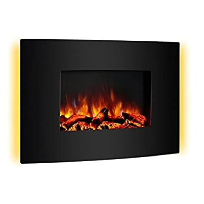 "PuraFlame 36"" Vivian Wall Mounted Curved Panel Electric Fireplace with Remote Control, 1500W, Black"
