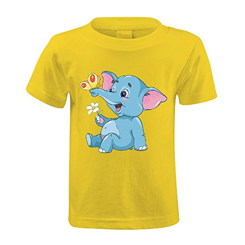 Cutestory Little Cartoon Elephant Calf With A Flower And But Kids Design Cotton T Shirts Yellow