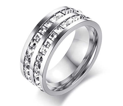 8mm Stainless Steel Double 2 Row of Square Rhinestone Crystal Wedding Engagement Band Promise Ring,size 8 (Two Row Stainless Steel Ring)