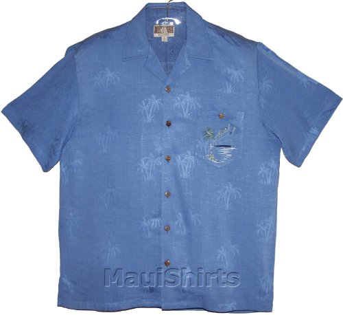 Ocean Liner Men's Hawaiian Aloha Embroidered Jacquard Rayon Shirt in Blue - L - Embroidered Jacquard Shirt