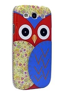 AceOfCase - Samsung Galaxy S3 / S III / i9300, Rojo / azul del búho Installez le Hard Case de Phone Housse /.