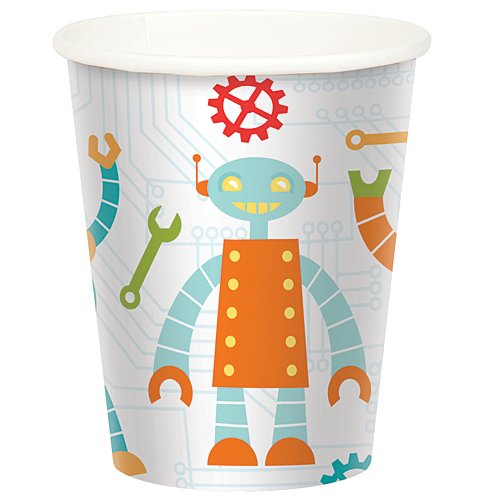 Robot Birthday Cups Package of 8