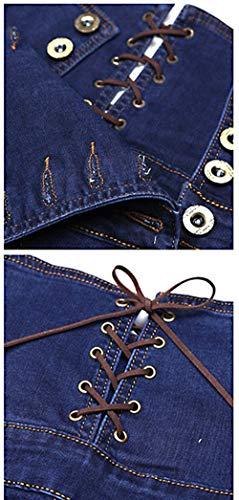 Casuales Blau De Con Cintura Un Mujer Solo Mujeres Mezclilla Vaqueros Alta Pantalón Pitillo Para b Elásticos Bolsillos Pantalones Pecho AqTwzx