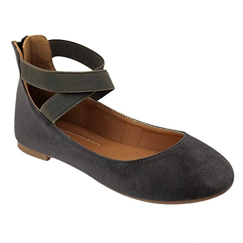 Women's Criss Cross Comfort Elastic Ankle Strap Round Toe Ballet Flat (Grey Faux Suede)