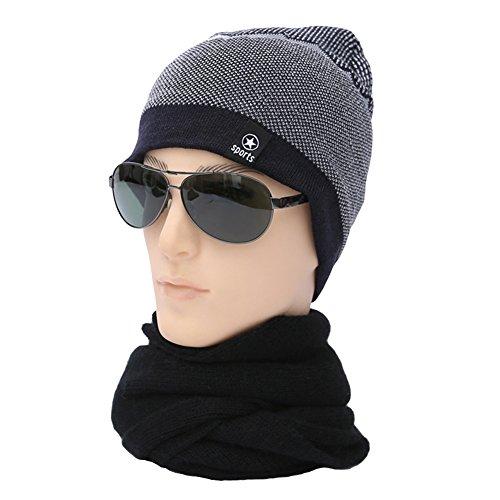 Ukallaite Our Fashion Century - Gorro de Punto elástico para Hombre, Forro Polar, cálido, Color Negro, Gris azul marino