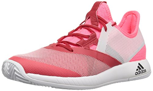 adidas Women's Adizero Defiant Bounce Tennis Shoe, Flash red/White/Scarlet, 10 M US