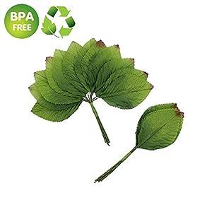 Silk Leaf Green Artificial Leaves Flower DIY Home Decorative Christmas Party Decoration Bouquet Wreaths Wedding Decor 120pcs (Dark Green) 1