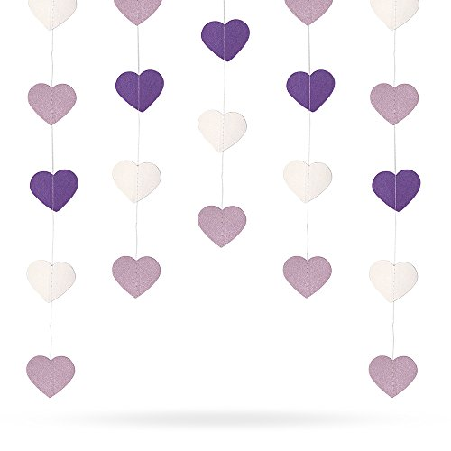 4 Pack 52.4 Feet Heart-shaped Paper Garland Hanging Decorations (Purple and White Gradient )for Wedding Party Birthday Decorations by Erlvery - White Gradient Black