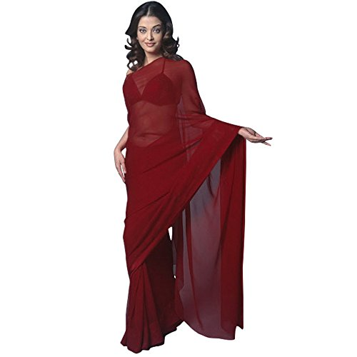 Chiffon Bollywood BellyDance Indian Saree Sari - Maroon