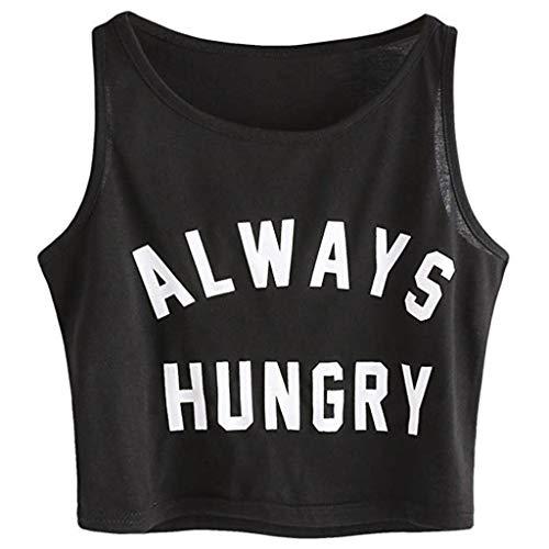 Creazrise Womens O-Neck Sling Vest Tank Shirt Summer Sleeveless Letter Print Casual Crop Tank Top Shirts Black
