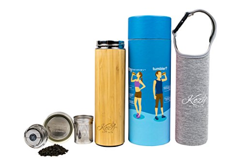 (Organic Bamboo Tumbler with Tea Infuser & Strainer by Kozy Kitchen| 17oz Stainless Steel Water Bottle| Insulated BPA-Free Travel Mug With Mesh Filter for Brewing Loose Leaf |Gift For Tea Lovers (Gray))