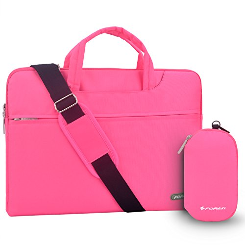 YOUPECK Water Repellent 11 11.6 Inch Laptop Shoulder Bag Compatible MacBook Air 11 12, Surface Pro, Sumsung Tab Polyester Protective Messenger Briefcase Men Women Carrying Handbag Sleeve Case, Pink
