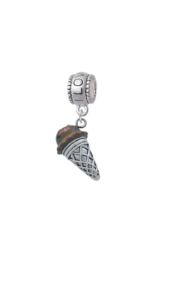 Silvertone 3-D Resin Chocolate Ice Cream Cone with Crystals - I Love You Charm Bead
