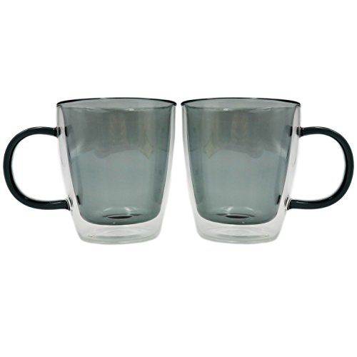 10 Ounce Glass Cups Coffee Mugs with Handles Made of Borosil