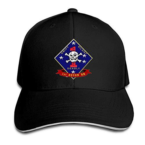 US Marine Corps 1st Recon Battalion Adjustable Hat Baseball Cap Sandwich Cap -