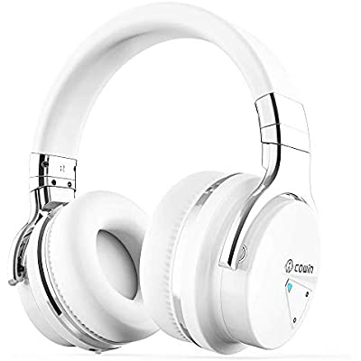 COWIN Active Noise Cancelling Bluetooth Headphones with Microphone Hi-Fi Deep Bass Wireless Headphones Over Ear  Comfortable Protein Earpads  Hours Playtime for Travel Work Computer  White