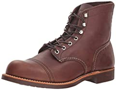 Handcrafted in the USA with durable stitch-down welt construction and premium quality leather, the Iron Ranger boot from Red Wing will offer years of comfortable wear. This robust boot is built on a non-marking, oil-resistant sole and handsom...