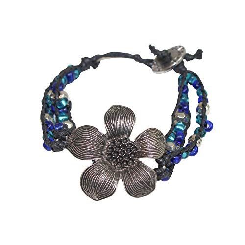 Bracelet Calypso Studios - Calypso Studios Womens Two Strand Floral Bracelet Blue/Black One Size