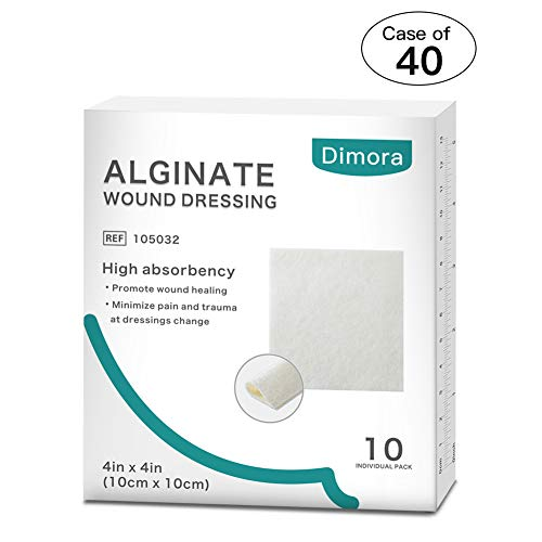 Case of 40, 10 Pcs/Boxes Alginate Wound Dressing by Dimora, Soft and Highly Absorbent Antibacterial Dressing, Individual Sterile Pads, 4.25'' x 4.25''