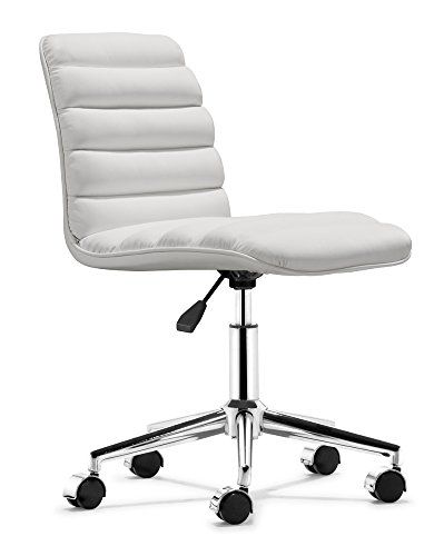 Admire White Office Chair Shown In Steel Frame By Zuo Modern