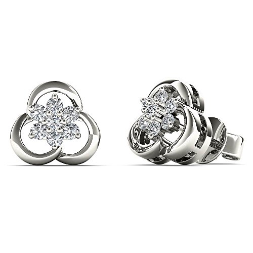 (JewelAngel Women's 10K White Gold 1/8 Carat TDW Diamond Flower Stud Earrings (H-I, I1-I2) )