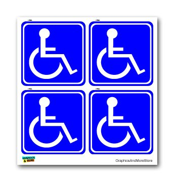 Disabled Wheelchair Symbol BLUE Set of 4 - Handicapped - Window Bumper Laptop Stickers
