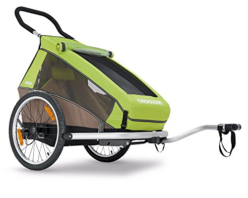 Croozer Premium Multisport Bike Child Trailer/Stoller/Jogger, The Kid for 1- for One Child - Meadow Green/Sand Grey - Aluminum Frame