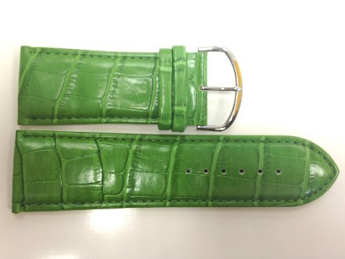 30MM GREEN WIDE PADDED STITCHED CROCO PRINT TRENDY FASHION WATCH BAND STRAP Green Croco Print