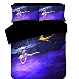 Hatsune Miku Bedding Set and Pillowcase Flat Sheet - Cartoon Duvet Cover Set Girls' Gift Princess Home Decoration Lovely Design Many Options Queen 4PC