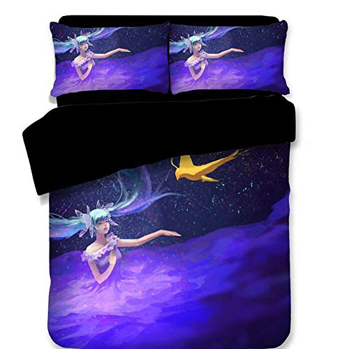 Hatsune Miku Bedding Set and Pillowcase Flat Sheet - Cartoon Duvet Cover Set Girls' Gift Princess Home Decoration Lovely Design Many Options Queen 4PC by Sport Do