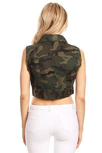 Funteze Cropped Army Print Button Up Vest (Large) by Funteze (Image #1)