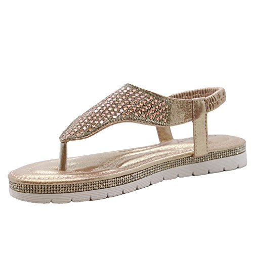 SAUTE STYLES Ladies Womens Flats Wedge Diamante Strappy Toe Post Flatform Sandals Shoes Size 3-8 Champagne Pink Diamante uMwmnZy