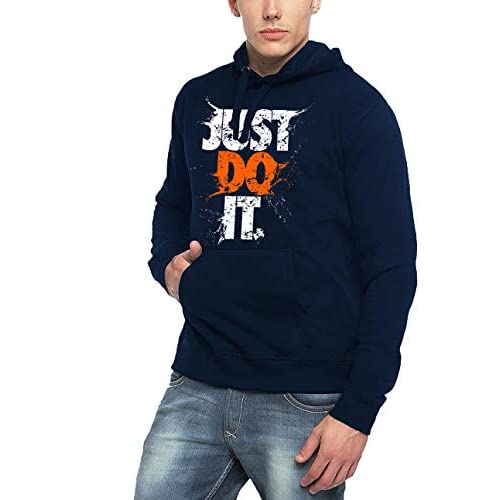 41P97XOUkeL. SS500  - ADRO Men's Just Do It Typography Printed Cotton Hoodies