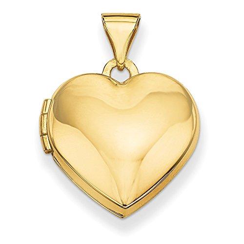 14k Yellow Gold Plain Heart Locket Pendant (15 x 20 mm)