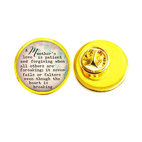 A Mother's Love Quote Brooch Inspirational Jewelry Forgiveness Pin Brooch Glass Quote Jewelry,TAP302