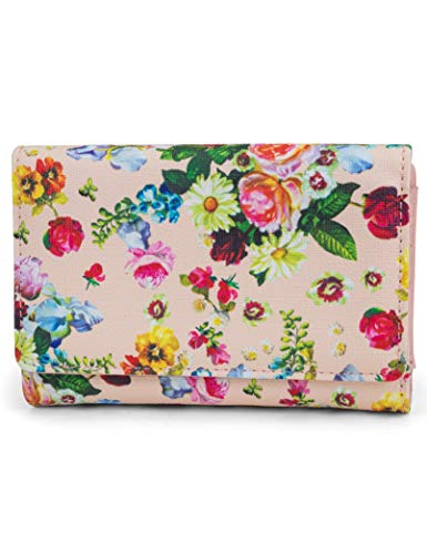 (Mundi Small Womens RFID Blocking Wallet Compact Trifold Safe Protection Clutch With Change Purse (Blush Garden))