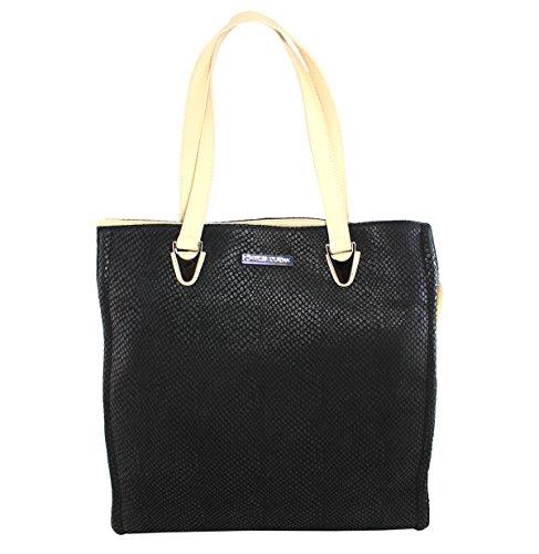 Charles Jourdan Women's Black Very Snake-Embossed Tote Bag
