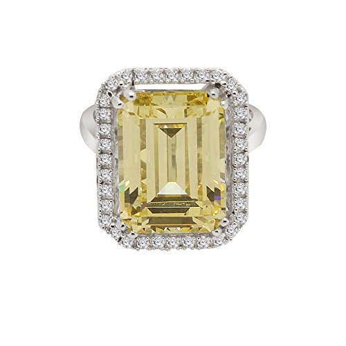 OMEGA JEWELLERY 10K White Gold Emerald Shape Sim. Yellow Topaz & 0.34 Ct Real Diamond Halo Ring ()