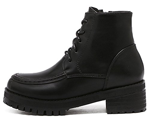 IDIFU Womens Comfy Mid Chunky Heels Platform Riding Ankle Boots With Zipper Black dajHwFw0
