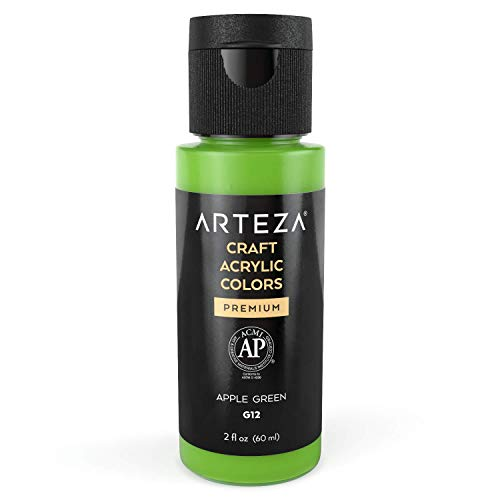 Arteza Craft Acrylic Paint G12 Apple Green, 60 ml Bottle, Water-Based, Matte Finish, Blendable Paints for Art & DIY Projects on Glass, Wood, Ceramics, Fabrics, Paper & Canvas