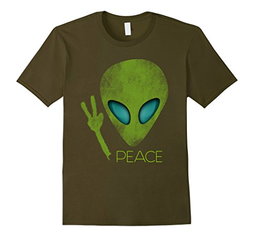 Men's Alien Peace Cool Funny T-Shirt Cute UFO Lover Birthday Gift 3XL Olive