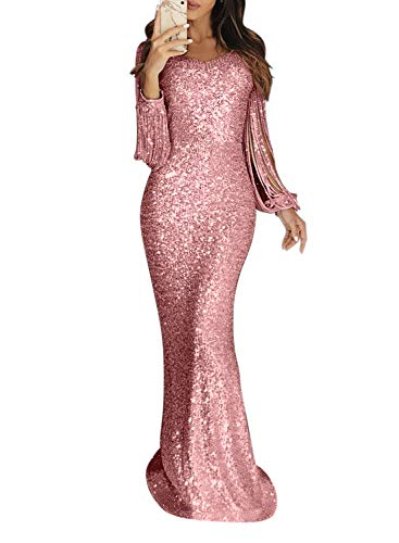 Elapsy Womens Sexy Elegant Sequin Tassel Long Sleeve Party Mermaid Long Bandage Maxi Dress Formal Evening Gown Pink X-Large