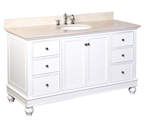 41P99s6%2BY2L - Kitchen Bath Collection KBC555WTMFL Bella Single Sink Bathroom Vanity with Marble Countertop, Cabinet with Soft Close Function and Undermount Ceramic Sink, Crema Marfil/White, 60""