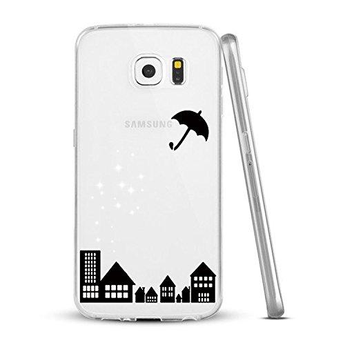 Vanki® Funda Galaxy S6 Edge,Carcasa Cubierta TPU Silicona Goma Suave Case Protection y Premium Clarity Cover Ultra Fino Anti-Arañazos para Samsung Galaxy S6 Edge-Las plantas verdes 3