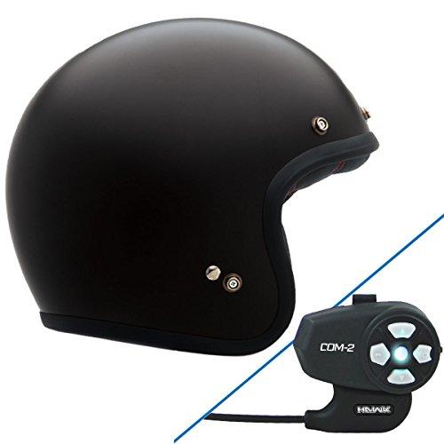 Bell Custom 500 Solid Flat Black Open Face Helmet with Hawk COM-2 Bluetooth Int - Large w/ COM-2 Intercom