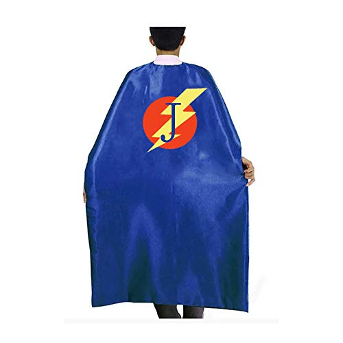 RANAVY Superhero Capes for Kids/Adult with Masks-Flash Dress Up Birthday Party Favors 26 Letters 10 Numbers Initial Blue/Red (Adult J)]()