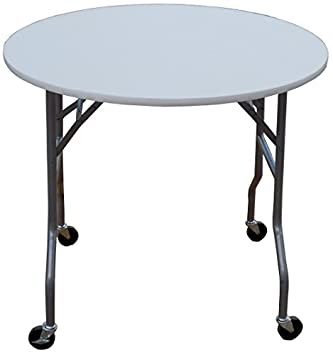 table with wheels. 36 inch round folding table on wheels with t