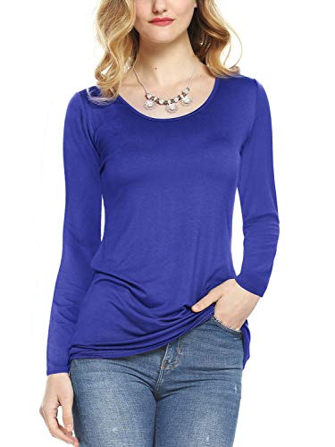Amoretu Women's Basic T-Shirts Long Sleeve Scoop Neck Tee Shirt Tops Slim Fit Blue S